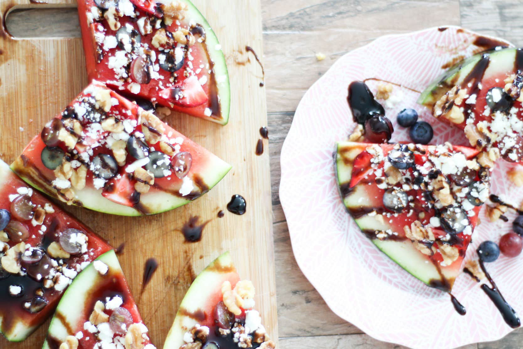 The Best Watermelon Pizza with Goat Cheese and Balsamic Glaze