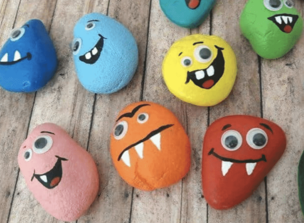 Rocks Painted as Monsters