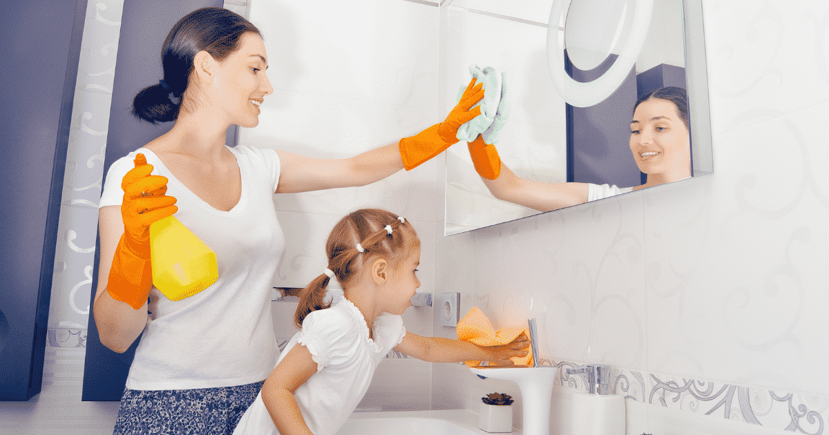 kids helping clean
